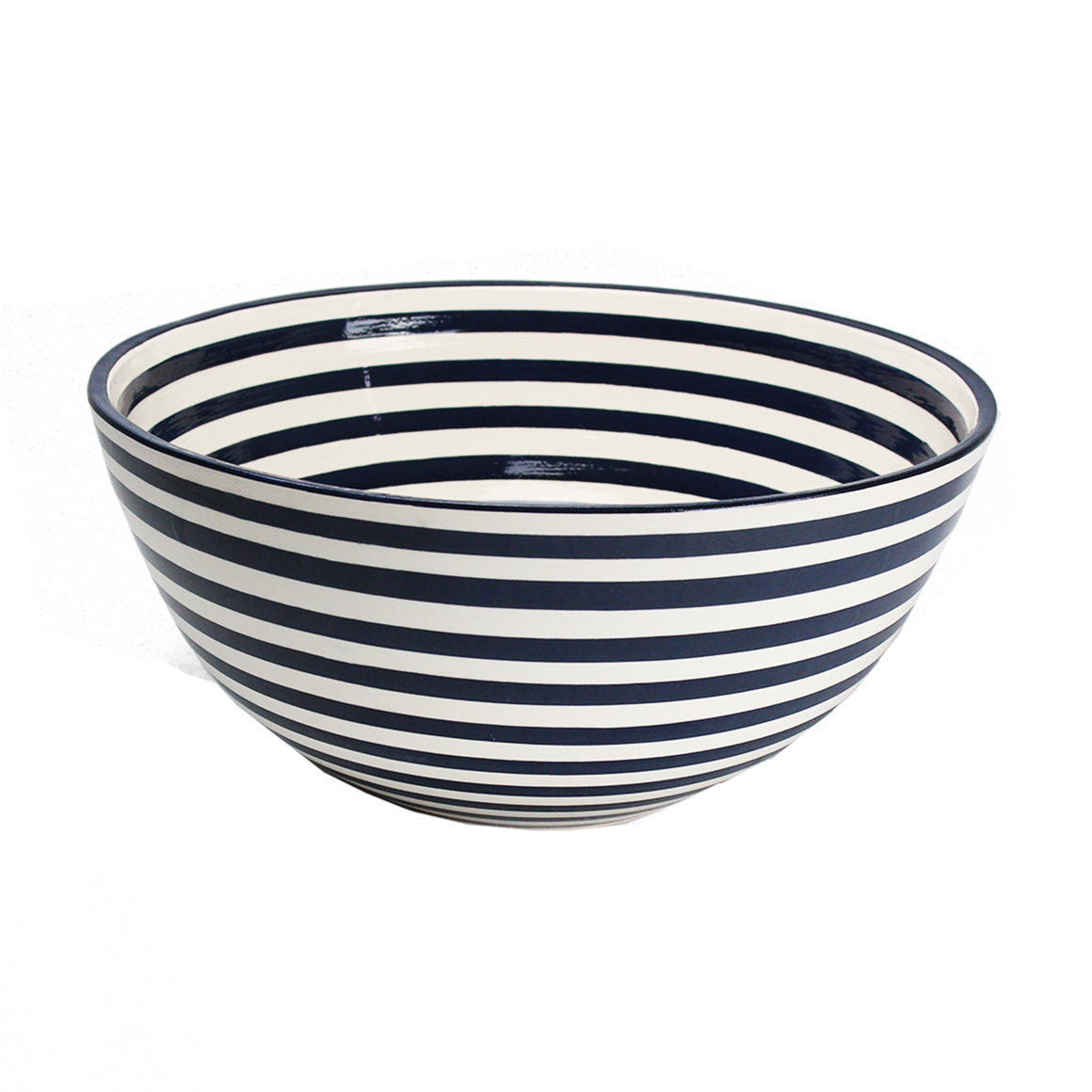 Black Stripe Large Deep Bowl