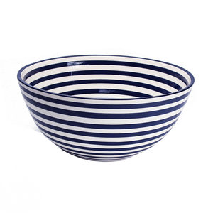 Cobalt Stripe Large Deep Bowl