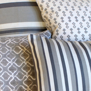 Grey Narrow Stripe Pillow Cover