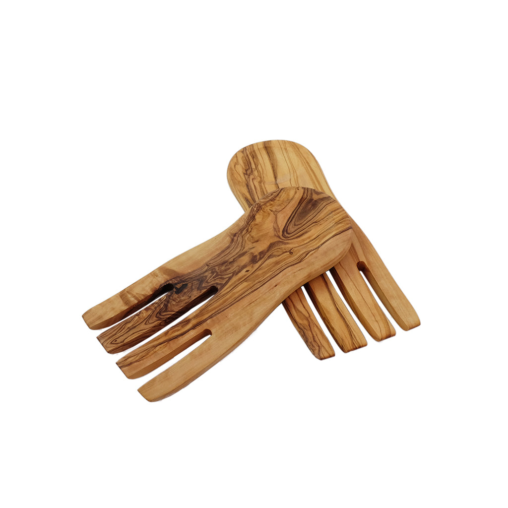 "Olive Wood Salad Hands 7"" (Pair)"