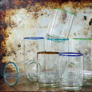 Med Blue Rim Stacking Glass