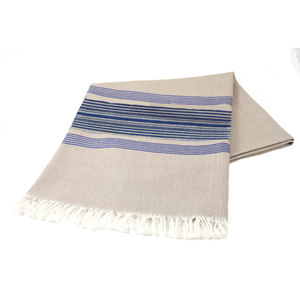 Wheat and Blue Solid Stripe Tablecloth
