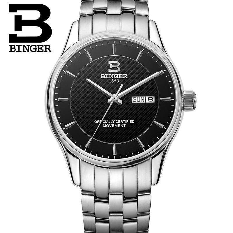Authentic Switzerland BINGER Mens fashion automatic mechanical sapphire watch