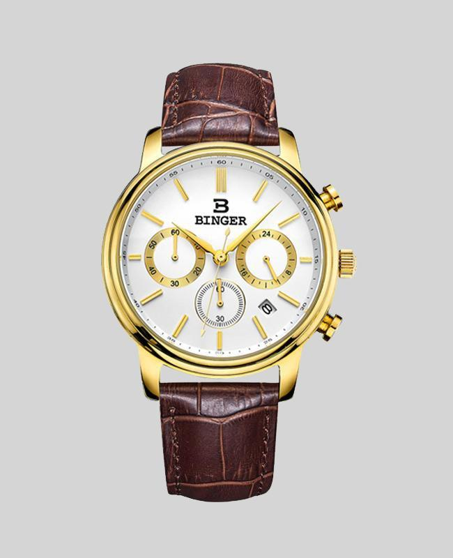 Luxury brand Quartz waterproof Chronograph Stop Watch