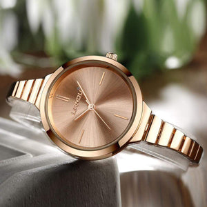 Luxury Crystal Gold Watch With Bracelet Jewelry