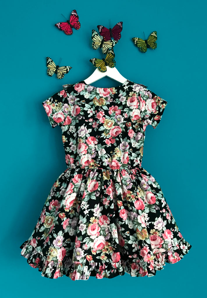Girls and Childs Autumn Winter Floral bloom cotton frill dress in black, pinks and green