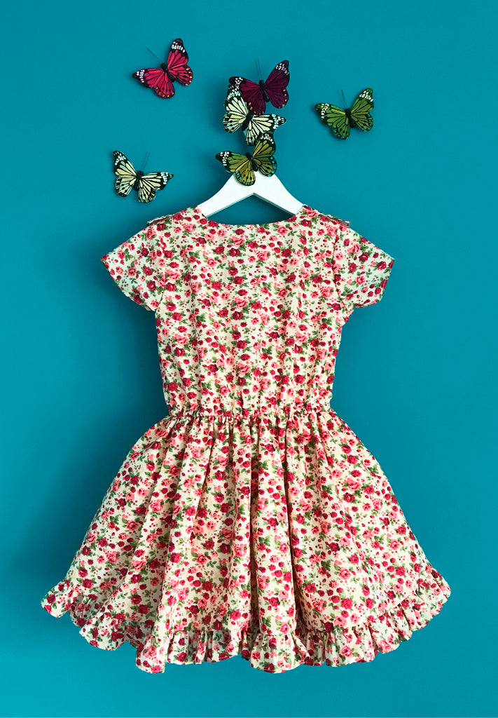 Girls and Childs Autumn Winter vintage inspired cotton floral frill dress in pink and cream