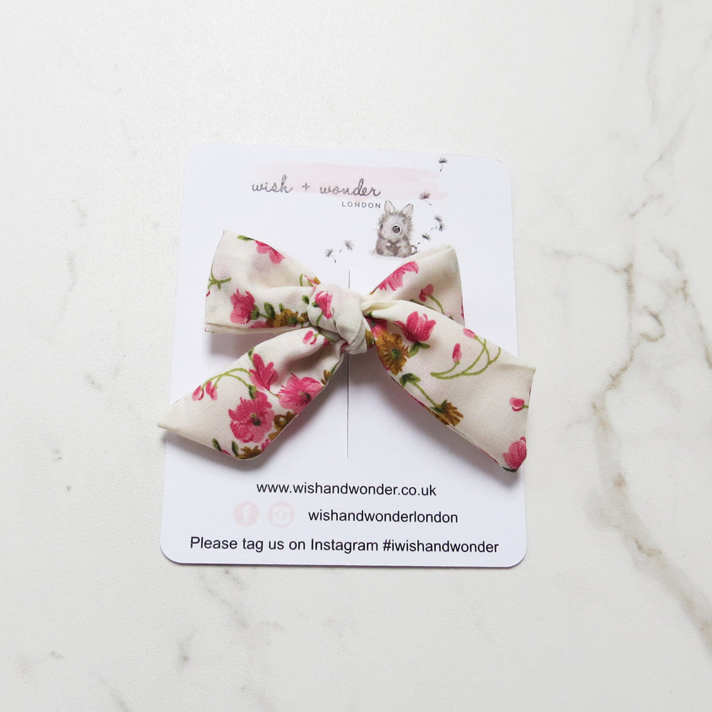 Childs Summer vintage inspired floral ditsy print hair bow in cream pinks, ochre and sage green.