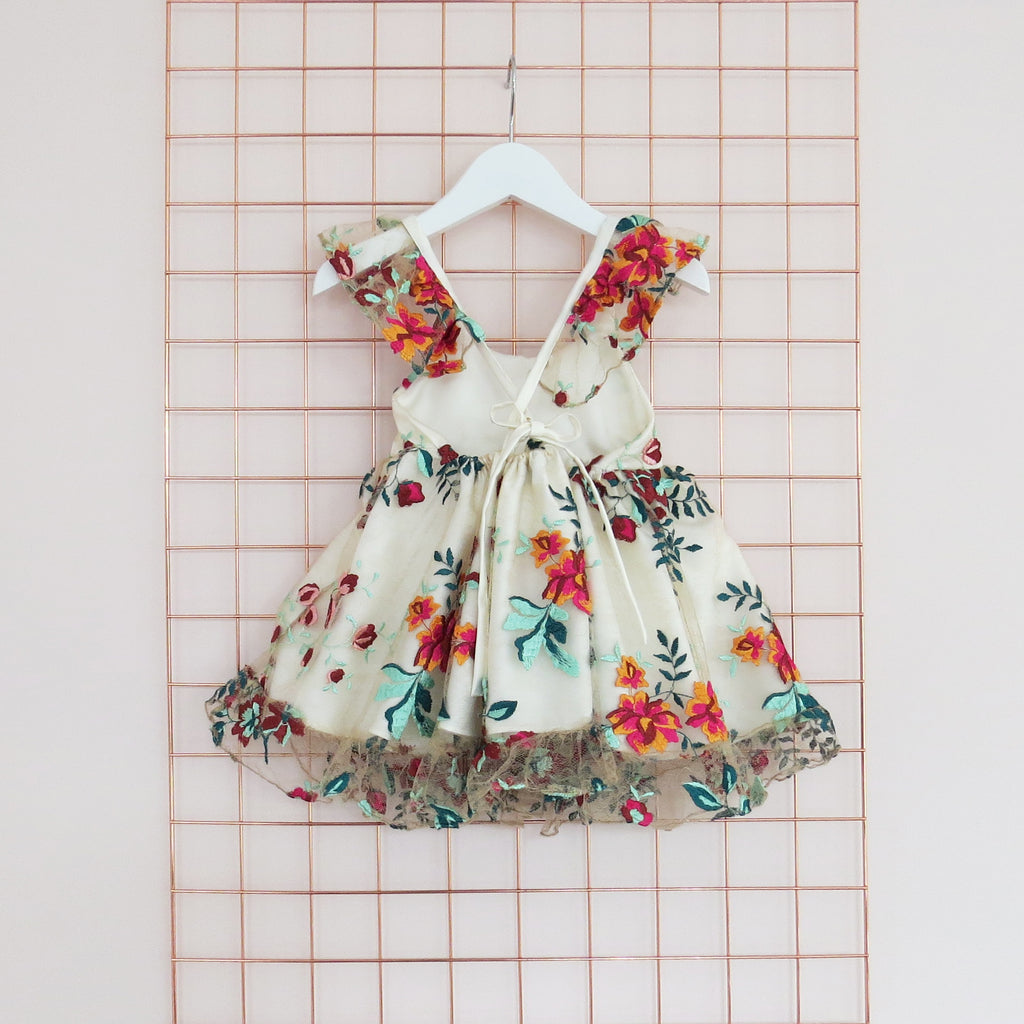 Childs Summer floral lace embroidery dress with frill sleeves