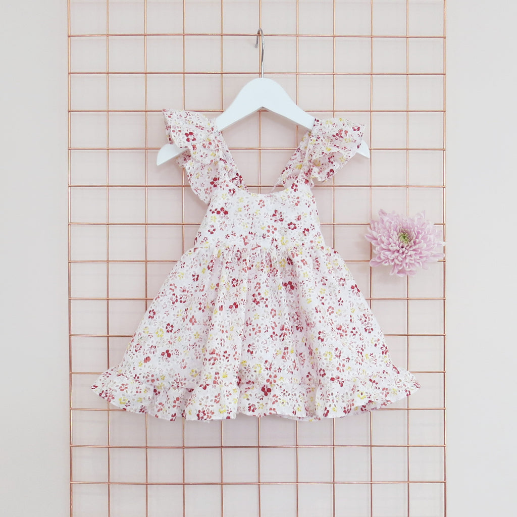 Childs Summer floral print and broderie anglaise dress with frill sleeves