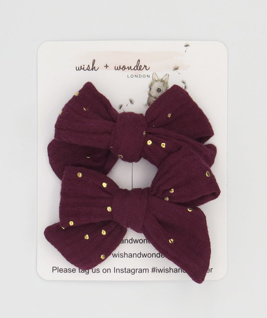 Anais double gauze dot cranberry set of pigtail hair bows with gold spot