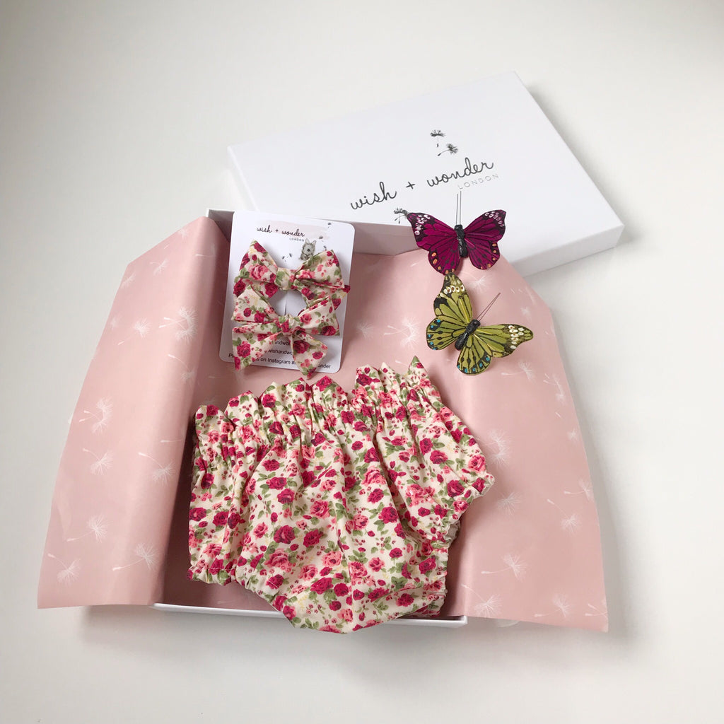 Baby and Toddlers printed floral ditsy print high waisted bloomer shorts and matching hair bow set