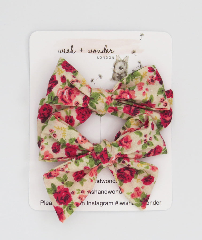 Anthoula floral printed pigtail set of hair bows
