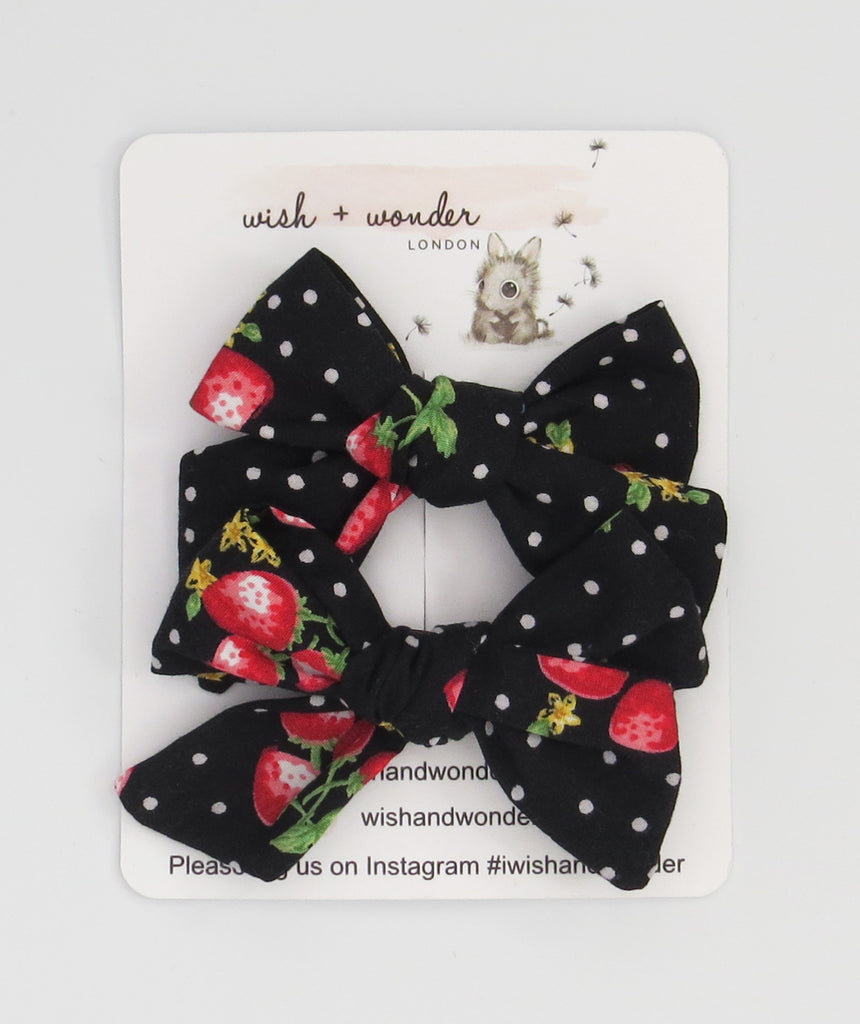 Arabella Printed strawberry & spot set of pigtail hair bows