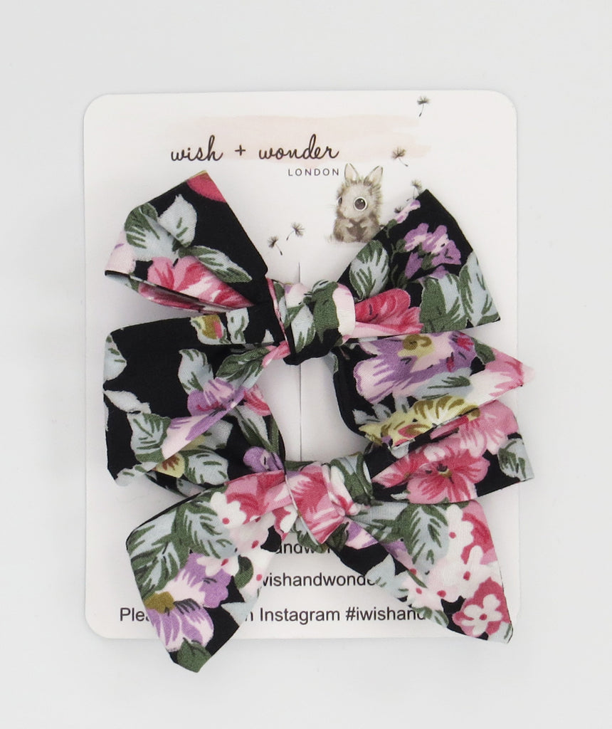 Ava printed floral set of pigtail hair bows