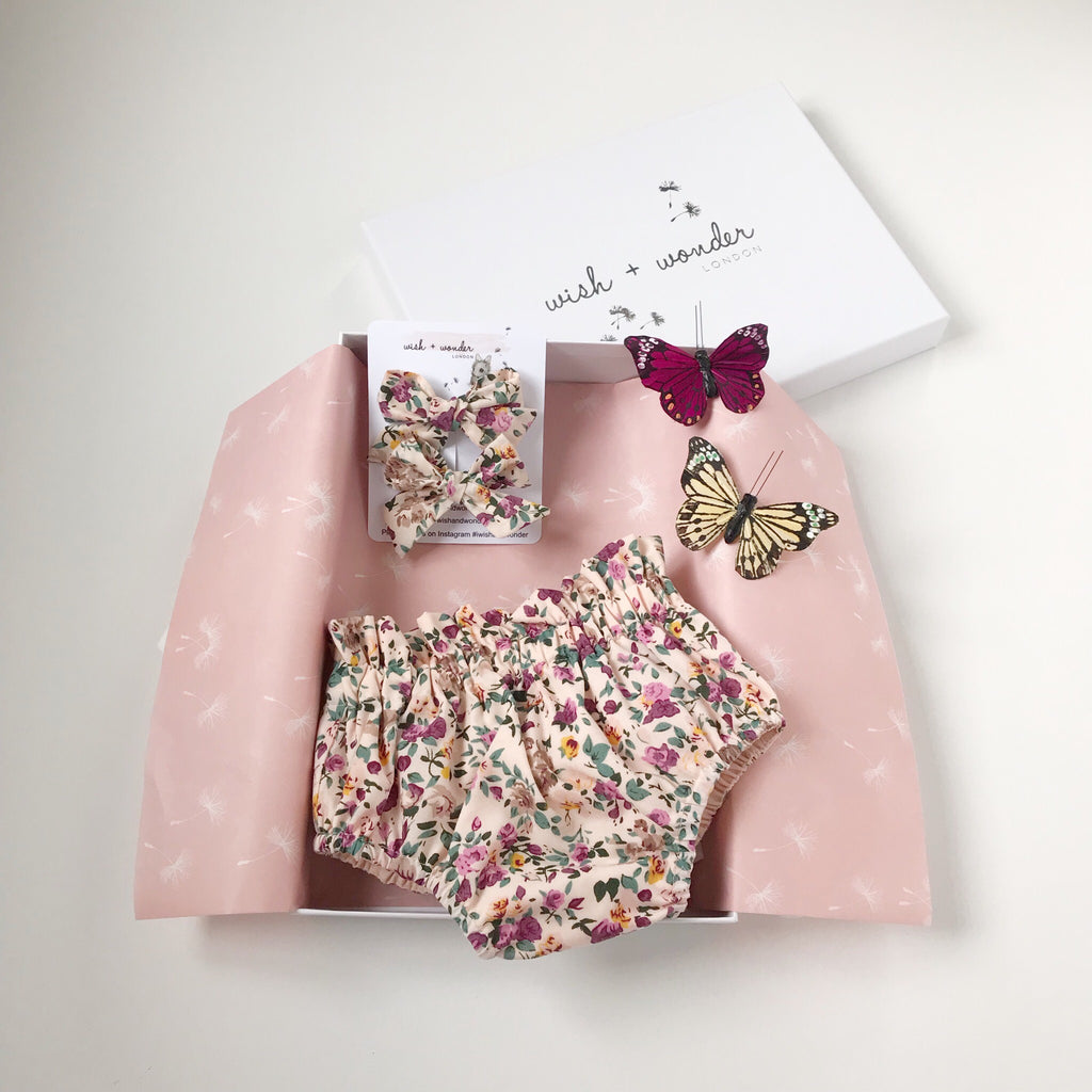 Baby and Toddler High waisted bloomer shorts and matching Hair Bows in vintage inspired floral cotton print.