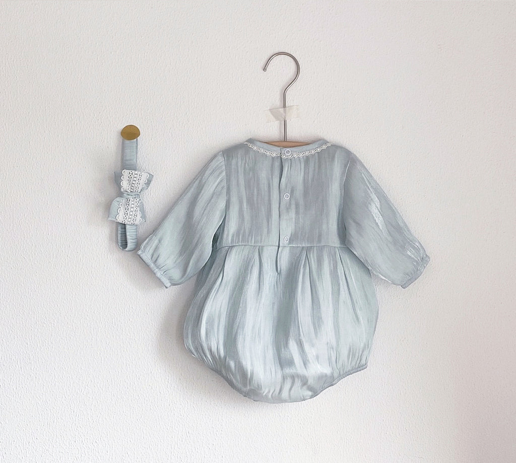 Florence Pearlised Blue Romper & Hairband