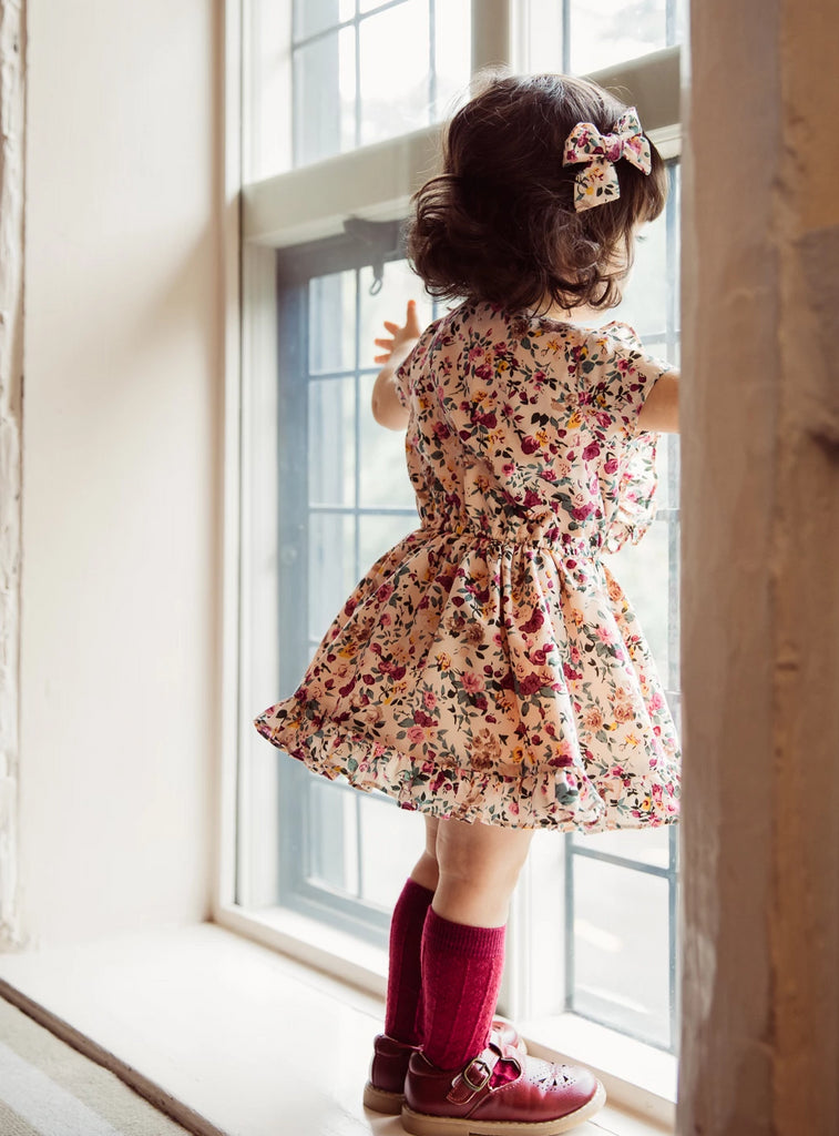 Childs Autumn Winter vintage inspired floral cotton frill dress in blush, plum and sage green.