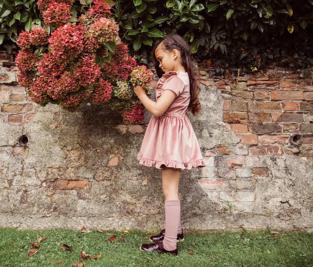 Girls and Childs Autumn Winter French Velvet frill dress in Rosewood pink.