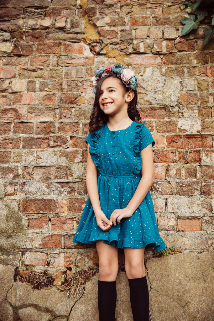 Girls and Childs Autumn Winter double gauze cotton dress with frill sleeves and gold spot in Peacock.