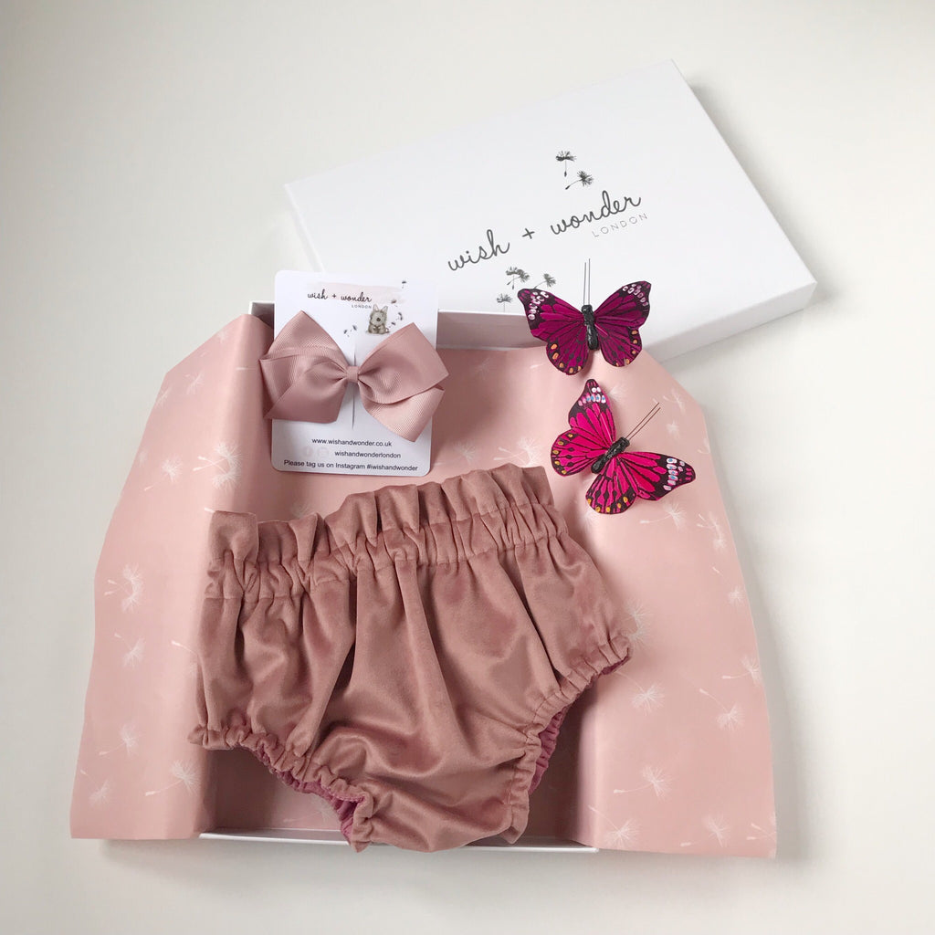 Baby and toddlers high waisted bloomer shorts with two matching hair bows in Rosewood French Velvet