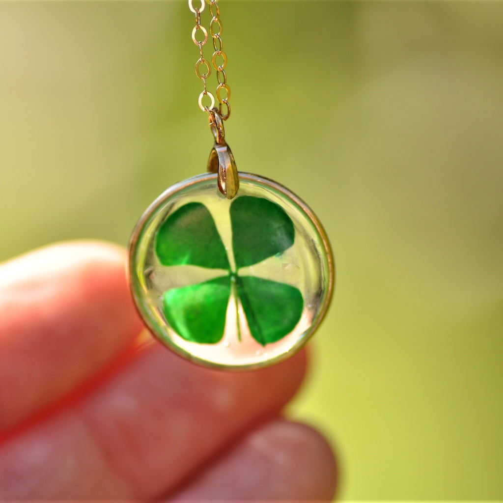 four leaf clover necklace - Gold fill