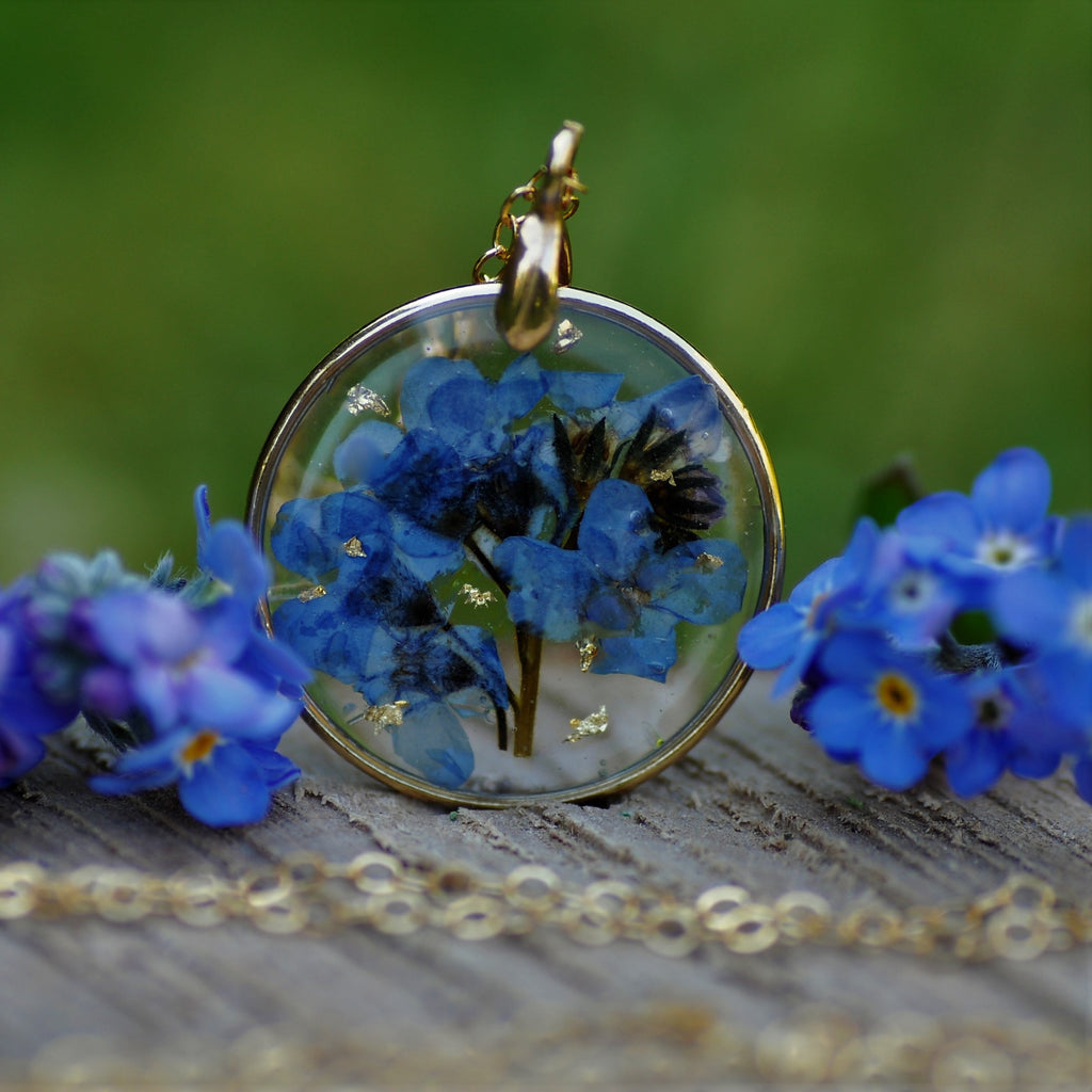 forget me not puddle necklace - Gold fill