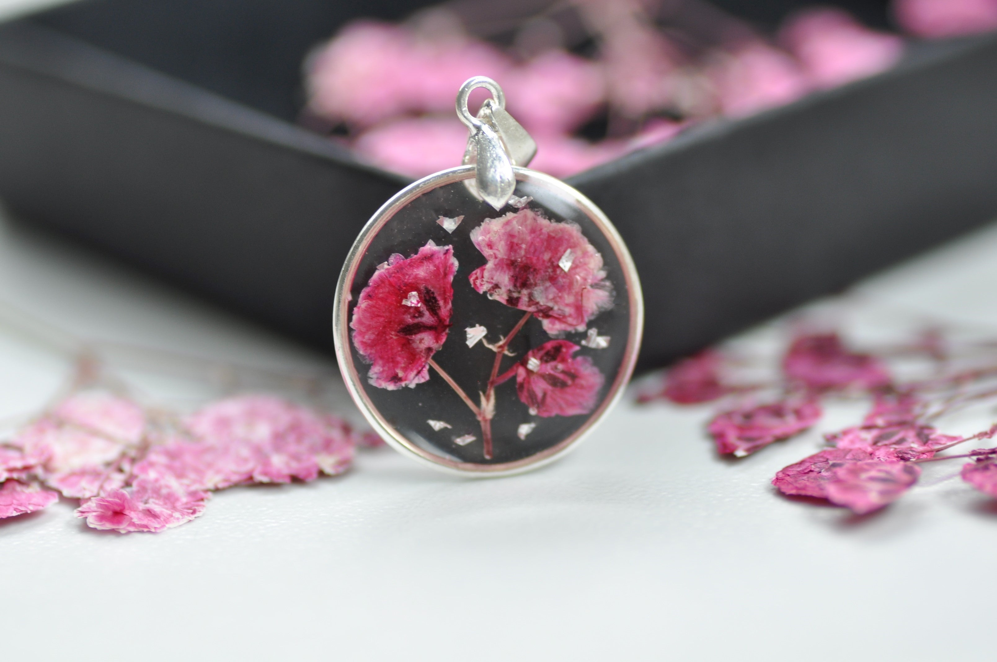 Pink Gypsophila puddle necklace - Sterling Silver
