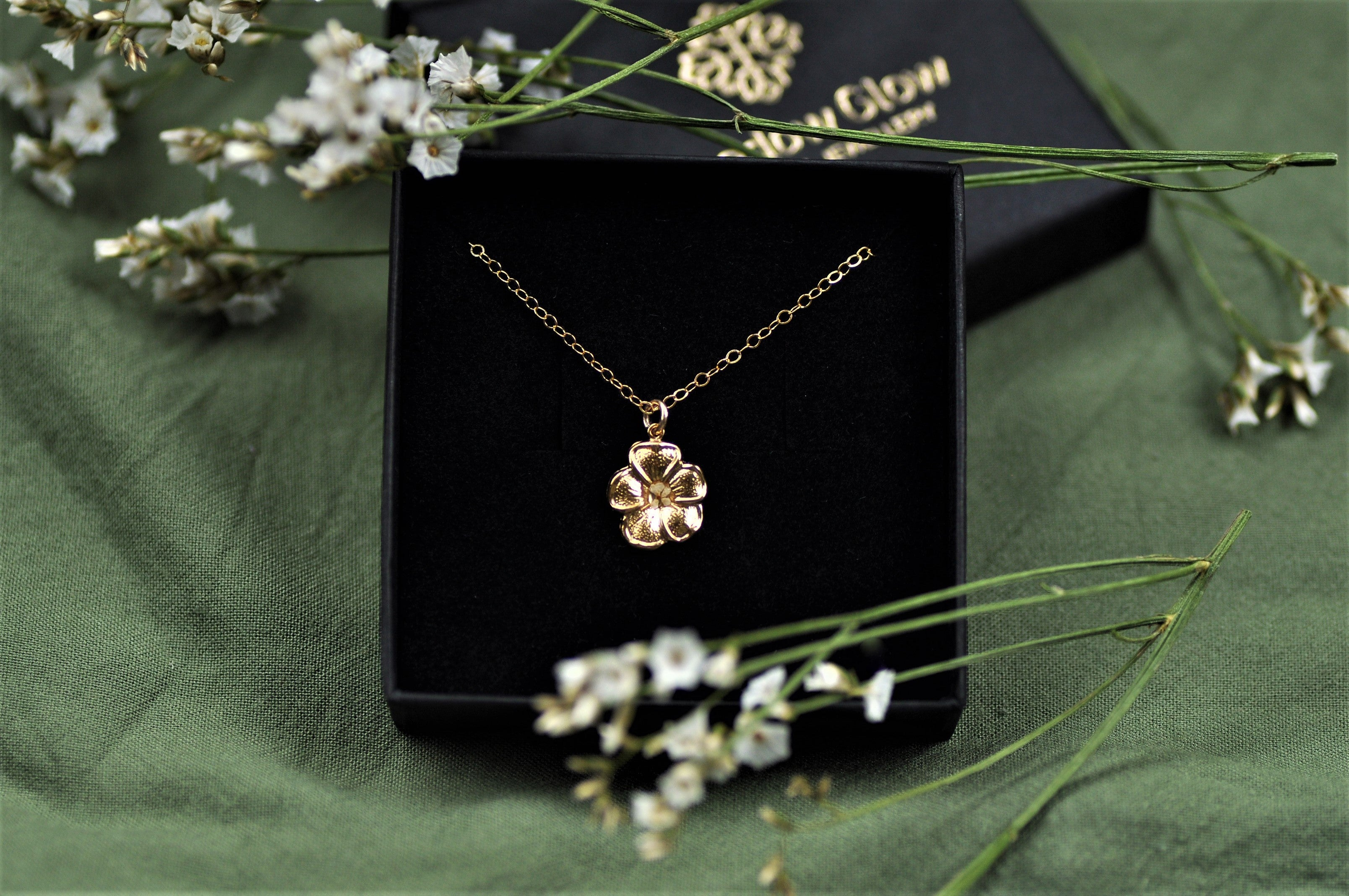 golden flower necklace - gold fill