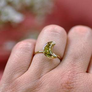 Mossy moon ring - gold fill