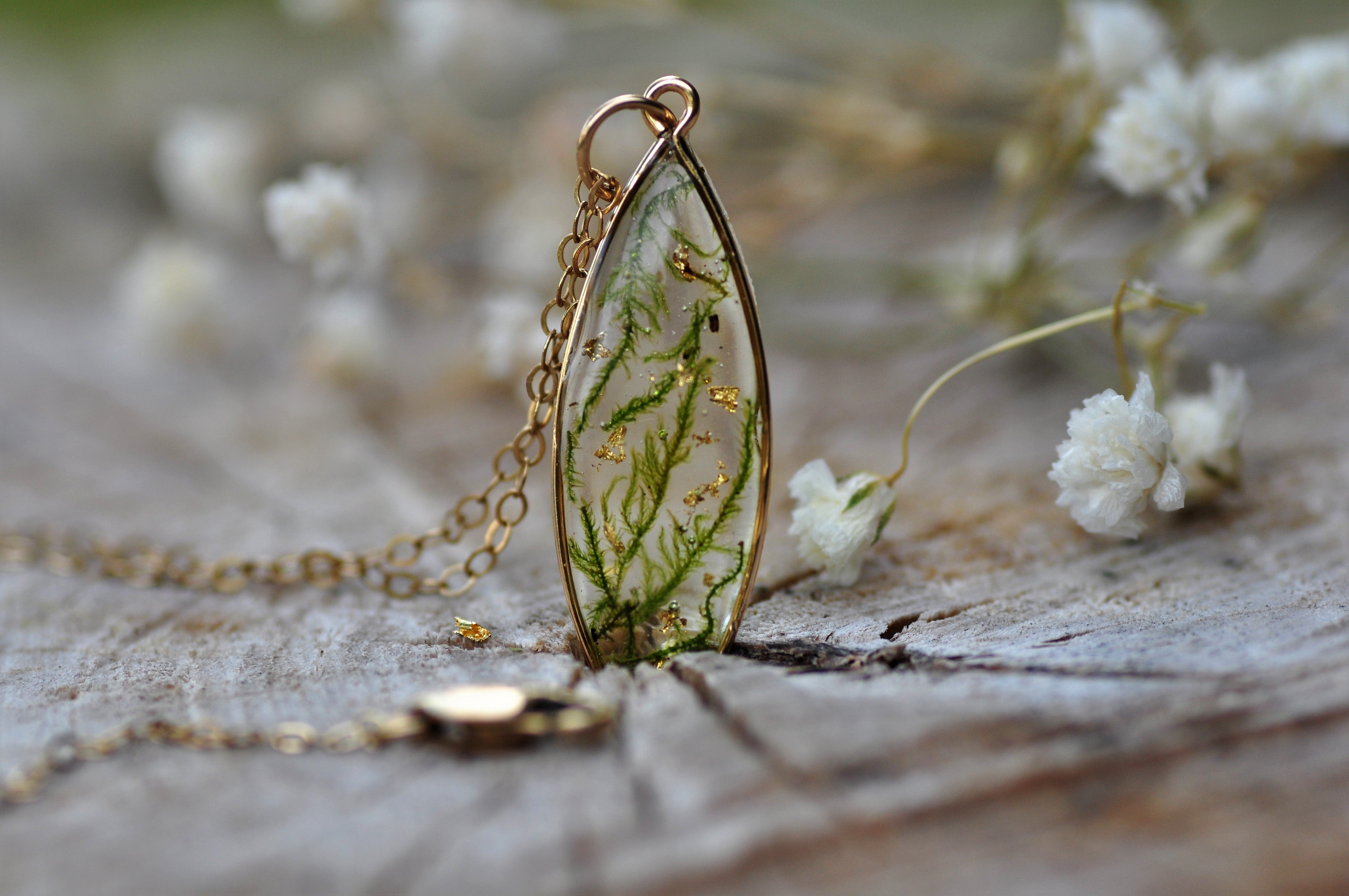 moss drop necklace - Gold fill
