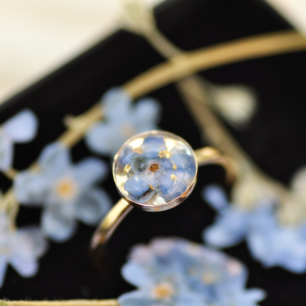 forget me not ring gold fill