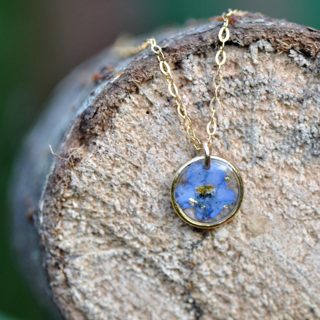 Forget me not tiny drop necklace - Gold Fill