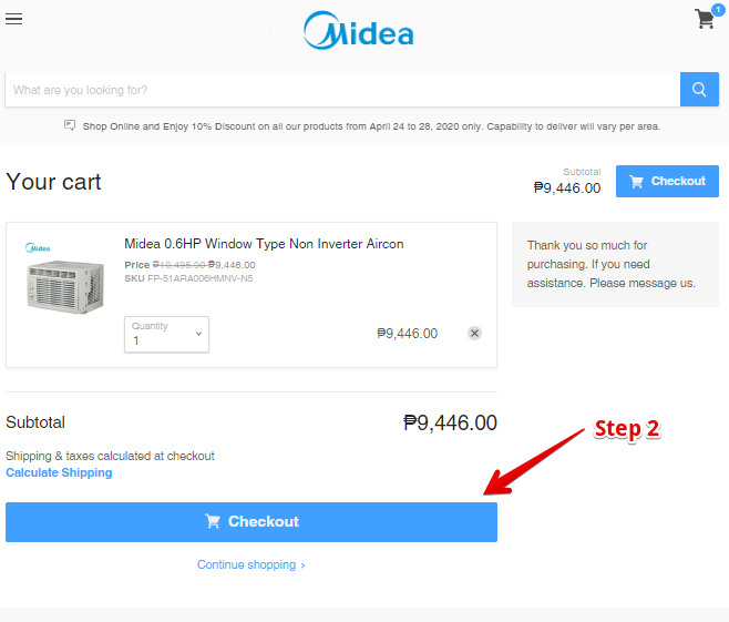 "STEP 2: On cart page. Select ""CHECKOUT"""