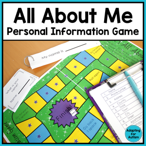 All About Me Personal Information Game