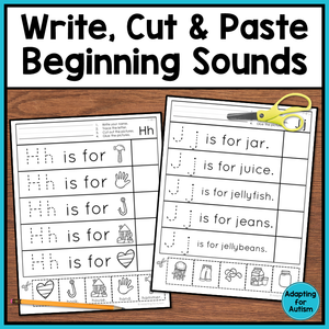 Beginning Sounds Worksheets: Cut and Paste Activities