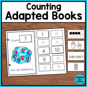 Picture - adapted book for counting hot air ballons. Text - Counting Adapted Books