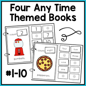 Picture - 2 adapted books for counting gumballs and pepperoni on a pizza. Text - Four any time themed books