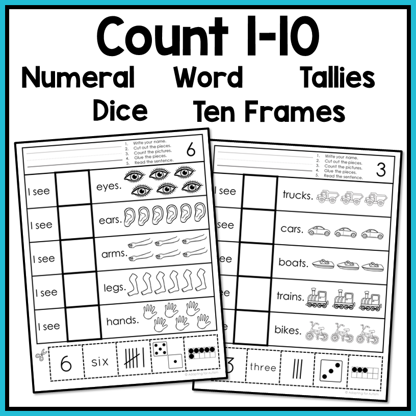 Free Errorless Cut And Paste Math Worksheets Counting 1-10 – Autism Work  Tasks