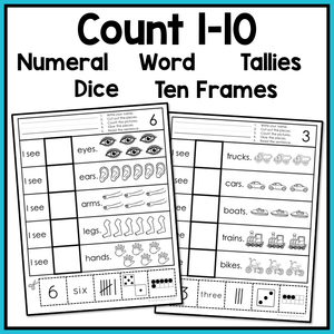 Free Errorless Cut and Paste Math Worksheets Counting 1-10