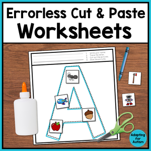 Errorless Cut and Paste Worksheets - Letters