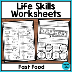 Life Skills Worksheets - Fast Food Restaurants