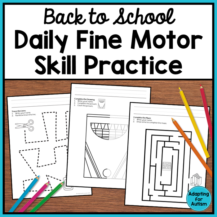 Back to School Fine Motor Worksheets
