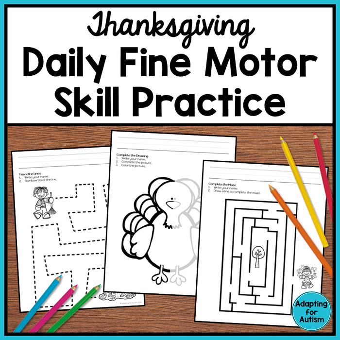 Thanksgiving Fine Motor Worksheets