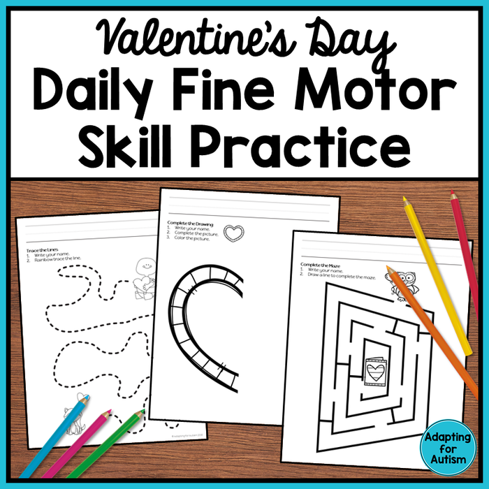 Valentine's Day Fine Motor Worksheets