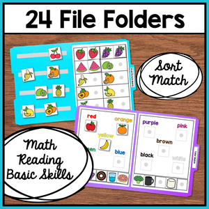 Food Themed File Folder Activities Worksheets and Tasks Bundle