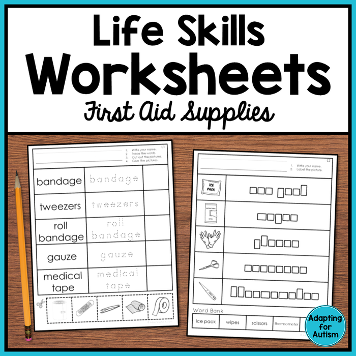 Life Skills Worksheets - First Aid Vocabulary