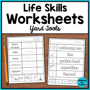 Life Skills Worksheets - Yard Tools Vocabulary