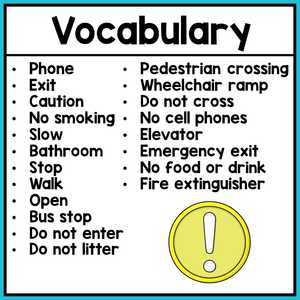 Life Skills Worksheets - Community Signs Vocabulary