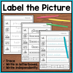Life Skills Worksheets - Community Places Vocabulary